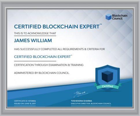 Certified Blockchain Expert Sample Certificate