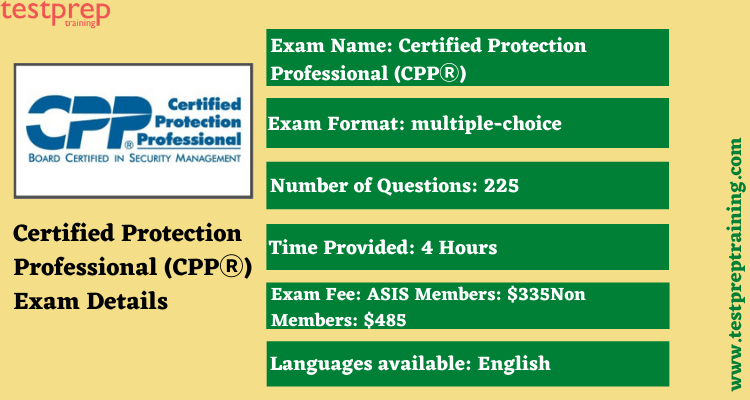 Certified Protection Professional (CPPⓇ) exam details