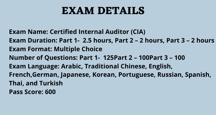 Certified Internal Auditor (CIA) exam overview